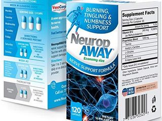 VasoCorp NeuropAWAY Neurop Pain Relief   120 Capsules Nerve Pain Relief and neurop Pain Relief for feet  neurop Support for Burning Numbness Pain in legs and feet Vitamin Supplement