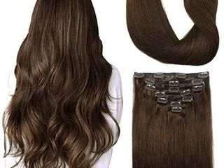 Doores Hair Extensions Clip in Human Hair Chocolate Brown 120g 7pcs 14 Inch Clip in Remy Human Hair Extensions Straight Natural Hair Extensions