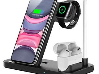 QI EU Wireless Charger  4 in 1 Qi Certified Fast Charging Station Compatible Apple Watch Airpods Pro iPhone 12 11 11pro X XS XR Xs Max 8 8 Plus  Wireless Charging Stand Compatible Samsung Galaxy S20