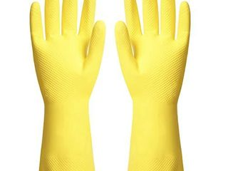 ThxToms Reusable Dishwashing latex Gloves  Yellow Cleaning Gloves for Kitchen and Housework  Medium  3 Pairs