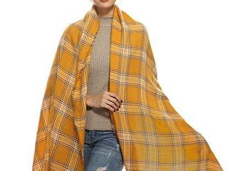 Women Travel Plaid Blanket Scarf  Yellow Mustard Soft Warm Winter  Pashmina Wraps and Shawls  Mom Grandma Best Friend Sister Wife Girlfriend Gift