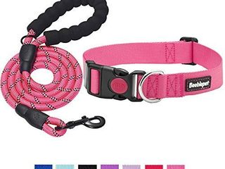 beebiepet Classic Nylon Dog Collar with Quick Release Buckle Adjustable Dog Collars for Small Medium large Dogs with a Free 5 ft Matching Dog leash  S Neck 10 16  Pink