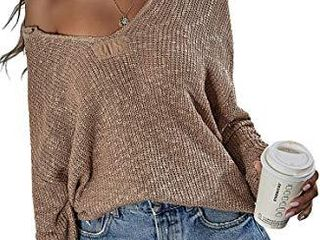 Angashion Women s Sweaters Casual Off Shoulder V Neck Flare long Sleeve loose Knitted Pullover Sweater Tops 2093 Khaki S