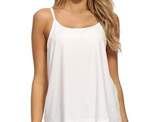Women Flowy Pleated Camisole with Built in Bra loose Casual Sleeveless Tank Tops  White  large