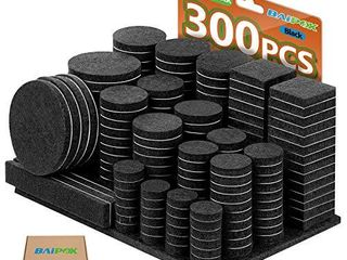 Furniture Pads 300 Pieces Felt Furniture Pads Premium Huge Pack  5mm Thick Self Adhesive Anti Scratch Floor Protectors for Desk Chair legs with Case and 60 Rubber Bumpers for Hardwood Tile Floor