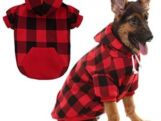 Plaid Dog Hoodie Pet Clothes Sweaters with Hat