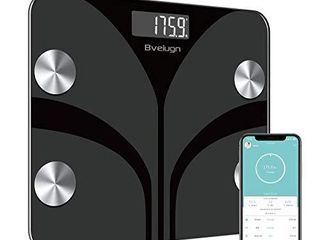 Body Fat Scale  Smart Wireless Digital Bathroom BMI Weight Scale  Body Composition Analyzer Health Monitor with Tempered Glass Platform large Digital Backlit lCD with Smartphone App   Black