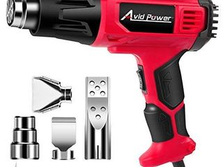 AVID POWER Heat Gun  Heavy Duty Hot Air Gun 1800W with Dual Temperature Settings  716 1205  4 pc Nozzle Attachments for Crafts  Shrinking PVC  Stripping Paint