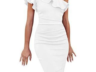 cailami Women s Elegant One Shoulder Ruffles Evening Party Bodycon Midi Dress  large  White
