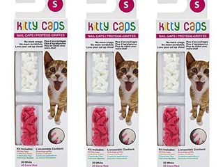 Kitty Caps Nail Caps for Cats   Pure White and Coral Red  40 Count  Small   3 Pack   Safe  Stylish   Humane Alternative to Declawing   Stops Snags and Scratches