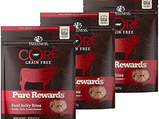 WEllNESS CORE Pure Rewards Natural Grain Free Dog Treats  Soft Jerky Bites  4 Ounce Bag  Beef Jerky   3 Pack  4 Ounce Bag