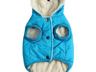 Vecomfy Fleece and Cotton lining Extra Warm Dog Hoodie in Winter for large Dogs Jacket Pet Coats with Hooded Blue Xl
