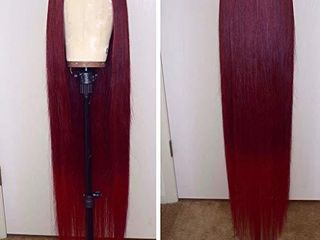 13x6 Burgundy Silk Straight Human Hair Wigs Glueless lace Front Hair 150  Density Pre Plucked Hair for Black Women by Estelle Wig  24inch  13x6 lace front wig
