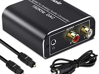 Digital to Analog Audio Converter 192kHz Techole Aluminum Optical to RCA with Optical  Coaxial Cable  Digital SPDIF TOSlINK to Stereo l R and 3 5mm Jack DAC Converter for PS4 Xbox HDTV DVD Headphone