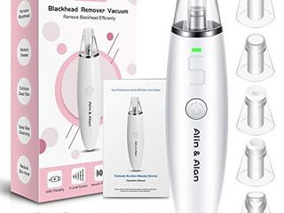 Blackhead Remover Vacuum Pore Cleaner   Alin Alan Electric Blackhead Suction Devices USB Rechargeable Acne Comedone Extractor Tool Kit  White