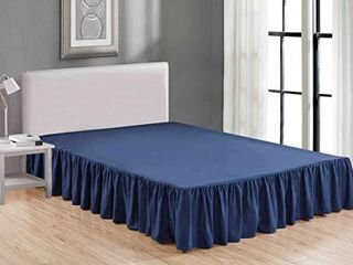Sheets   Beyond Wrap Around Solid luxury Hotel Quality Fabric Bedroom Dust Ruffle Wrinkle and Fade Resistant Gathered Bed Skirt 14 Inch Drop  Queen  Navy