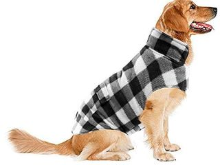ASENKU Dog Winter Coat  Dog Fleece Jacket Plaid Reversible Dog Vest Waterproof Windproof Cold Weather Dog Clothes Pet Apparel for Small Medium large Dogs  l  White