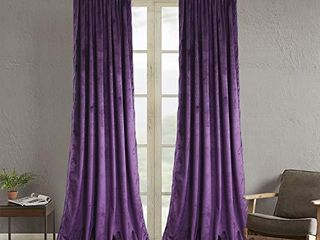 Roslynwood Purple Velvet Curtains for living Room   Velvet Curtain Panels Privacy Rod Pocket Window Drapes for Bedroom W52 by l84 inches  2 Panels