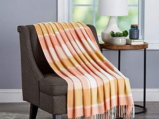 lavish Home Collection Soft Blanket Oversized  luxuriously Fluffy  Vintage look and Cashmere like Woven Acrylic   Stylish Throws  Desert Blush Plaid