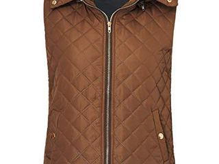 Idgreatim Women Winter Vest Cute Slim Fit Zipper Quilted Hooded Clothing Coat for Gift M