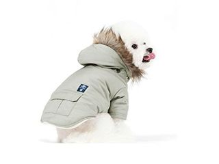 PetBoBo Cat Dog Doggie Down Jacket Hoodie Coat Pet Clothes Warm Clothing for Small Dogs Winter Beige Xl