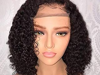 Jessica Hair 13x6 lace Front Wigs Human Hair Short Bob Wigs Pre Plucked With Baby Hair Curly Brazilian Remy Hair Wigs For Black Women  8 Inch with 150  density