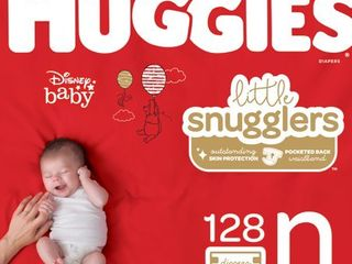 HUGGIES little Snugglers Diapers  Size Newborn  128 Count