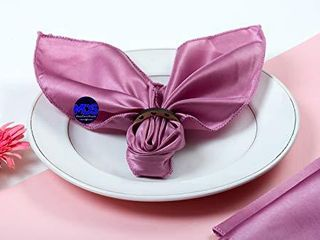 mds Pack of 10 Wedding Satin 20  X 20  Heavy Duty Table linen Napkin or Handkerchief Dinner Napkins for Wedding Banquet Home Parties Decoration   Dusty Pink