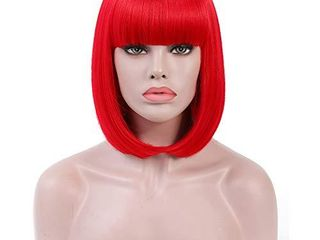 Rosastar Short Bob Hair Wigs 14  Straight with Flat Bangs Synthetic Hair Wig Colorful Cosplay Daily Party Halloween Wig for Women Natural As Real Hair  Red