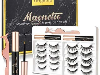 Brightup Magnetic Eyelashes with Eyeliner  10 Pairs 3D Natural look Reusable False Magnetic lashes Kit  2 Tubes long lasting Magnetic Eyeliner with Tweezers  Ideal For Gift