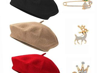 Women Berets Hat Vintage Beanie Cap French Style Artist Cap with Cute Brooch Pin