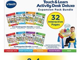 VTech Touch and Teach Activity Desk Deluxe 4 in 1 Pre Kindergarten Bundle Expansion Pack for Age 2 4