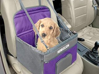 Henkelion Small Dog Car Seat  Dog Booster Seat for Car Front Seat  Pet Booster Car Seat for Small Dogs Medium Dogs Within 30 lbs  Reinforced Dog Car Booster Seat Harness with Seat Belt   Purple