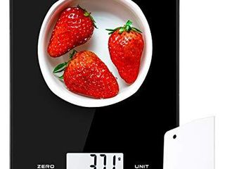 NUTRI FIT Digital Kitchen Scale Multifunction Food Scale 17 6lb 8kg Baking Scale with Dough Scraper for Cooking  large Display Easy to Clean Ultra Slim  Battery Included  Not Rechargeable