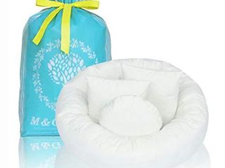 4PC Newborn Photo Props   Baby Photography Basket Pictures Infant Posing Props  1 Photo Donut and 3 Posing Pillows  Fits 0 3 Month