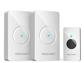 Wireless Doorbell  TeckNet Waterproof Door Bell Chime Kit Operating at 1000 Feet with 2 Plug In Receivers 38 Chimes  4 Volume levels   lED light Flash  White