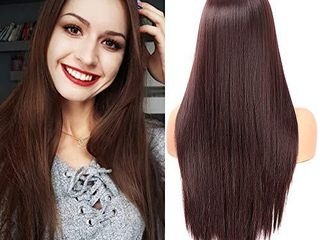 Fani 22 Inch long Straight Dark Brown Wigs for Women and ladies Natural Hairline Middle Part Synthetic Full Wig  4