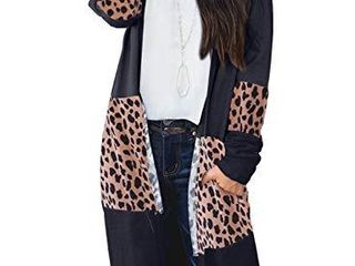 Dokotoo Womens Fashion Female leopard Color Block Patchwork Color Casual Open Front Ribbed Knit long Sleeve Cardigan Sweaters Outerwears long Sweaters Cardigans Coats With Pockets  No Button X large