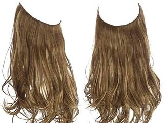 Halo Hair Extension Curly long Synthetic Hairpiece Brown With Beach Blonde Highlight Hidden Wire Headband 16 Inch 3 9 Oz for Women Heat Resistant Fiber No Clip SARlA M03 9H613
