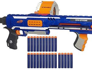 Nerf Rampage N Strike Elite Toy Blaster with 25 Dart Drum Slam Fire   25 Official Elite Foam Darts for Kids  Teens    Adults  Amazon Exclusive