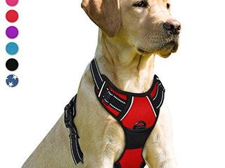 BARKBAY No Pull Dog Harness Front Clip Heavy Duty Reflective Easy Control Handle for large Dog Walking Red S