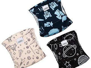 CuteBone Male Washable Dog Diapers Belly Bands 3pcs a Pack DM05S