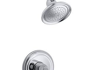 KOHlER K TS396 4 CP Devonshire R  Rite Temp R  shower valve trim with lever handle and 2 5 gpm showerhead  11 75 x 8 00 x 6 25  Polished Chrome