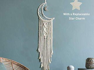 Boho Macrame Woven Wall Hanging  Crochet Crescent Moon Star Dream Catcher with long Tassel  White Cotton Cord Handmade Bohemian Home Decor Ornament Decoration Art Craft Gift for Kids Bedroom Dorm Room