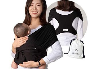 Konny Baby Carrier   Ultra lightweight  Hassle Free Baby Wrap Sling   Newborns  Infants to 44 lbs Toddlers   Soft and Breathable Fabric   Sensible Sleep Solution  Black  XS