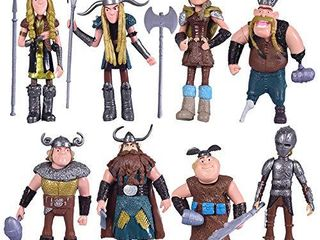 Max Fun Set of 8 Pcs HTTYD Dragon Action Figures Hiccup Astrid Stoick   Ruffnut Child Toys Xmas Gift Cake toppers