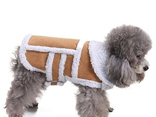 RYPET Small Dog Winter Coat   Shearling Fleece Dog Warm Coat for Small to Medium Breeds Dog Coffee  Medium