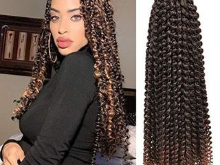 7 Pacs 18 Inch Passion Twist Hair Water Wave Braiding Hair long Bohemian Braids for Passion Twist Crochet Hair Hot Water Setting Synthetic Natural Braid Hair  18 Inch  1B 30  a