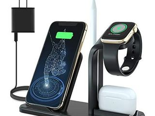 Wireless Charger  3 in 1 Wireless Charging Dock for Watch and Airpods  Charging Station for Multiple Devices  Qi Fast Wireless Charging Stand Compatible iPhone X XS XR Xs Max 8 8 Plus  Black