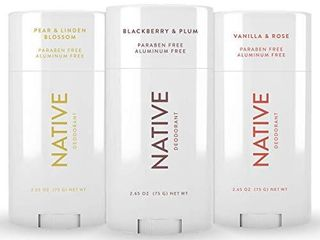 Native Deodorant   Natural Deodorant For Women and Men   3 Pack   Contains Probiotics   Aluminum Free   Paraben Free  Naturally Derived Ingredients   Blackberry   Plum  Pear   linden Blossom  Rose   Vanilla Scent